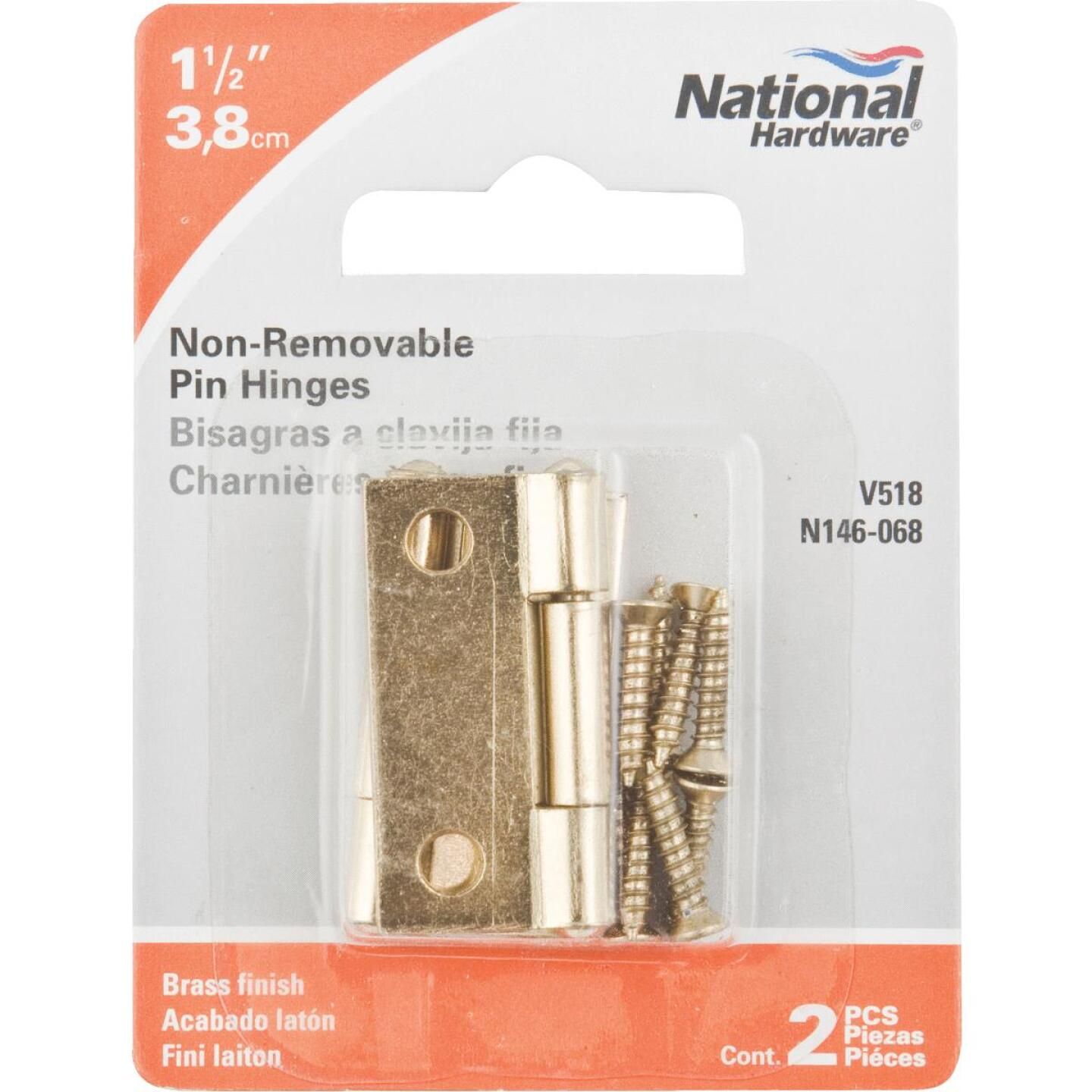 National 1-1/2 In. Brass Tight-Pin Narrow Hinge (2 Count) Image 2