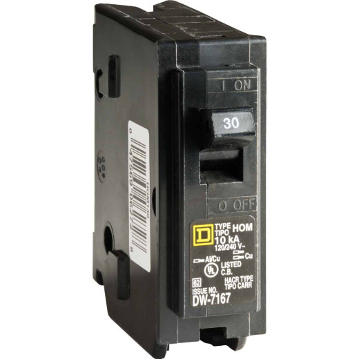 Square D Homeline 30A Single-Pole Standard Trip Circuit Breaker