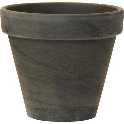 Ceramo 3-3/4 In. H. x 4-1/2 In. Dia. Dark Basalt Clay Standard Flower Pot