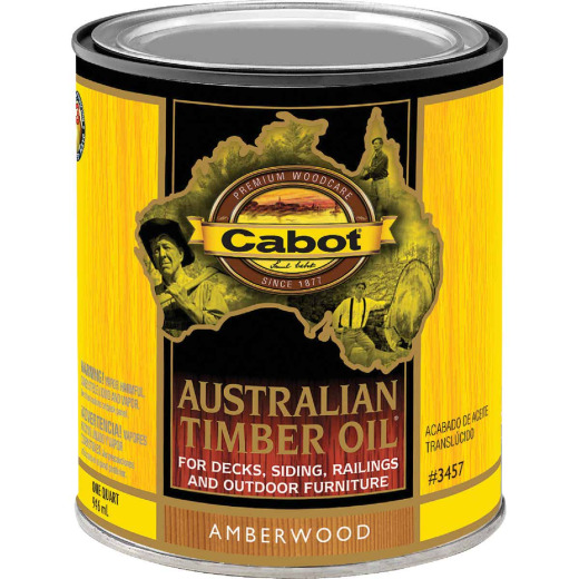 Cabot Australian Timber Oil Translucent Exterior Oil Finish, Amberwood, 1 Qt.