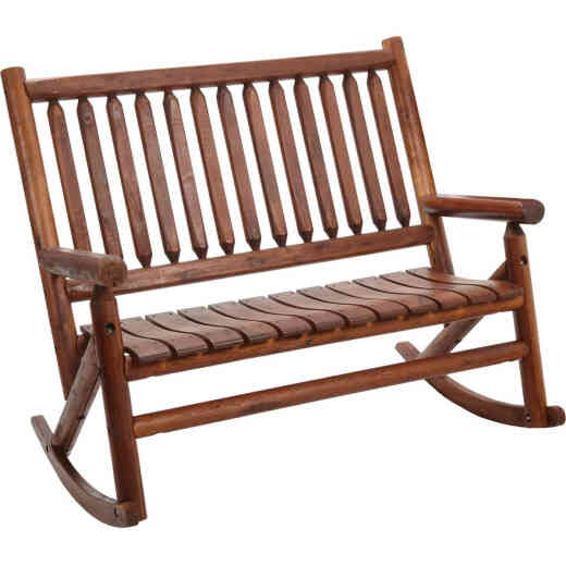 Leigh Country Amber-Log Stained Amber Acacia Wood Double Porch Rocker
